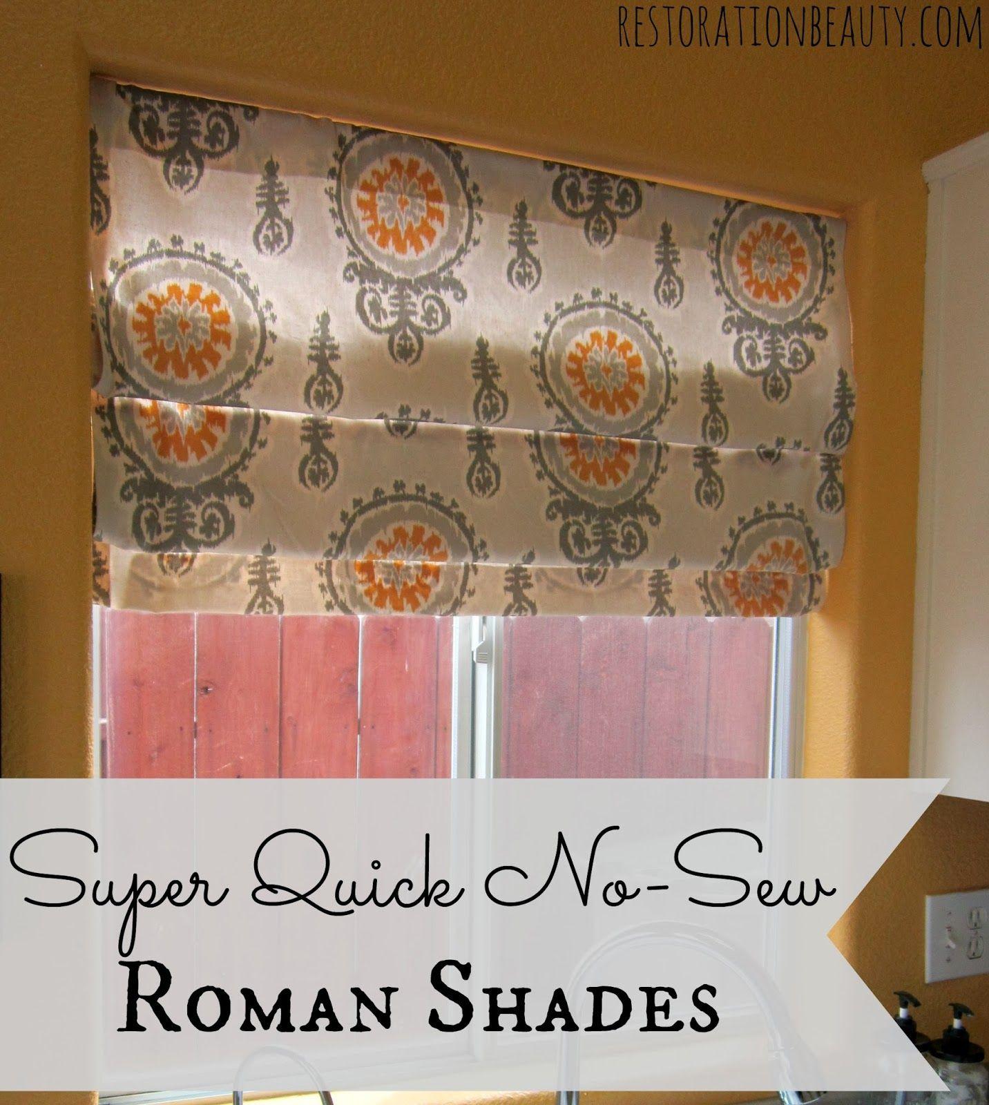 Super Quick NoSew Roman Shades Diy roman shades, Diy
