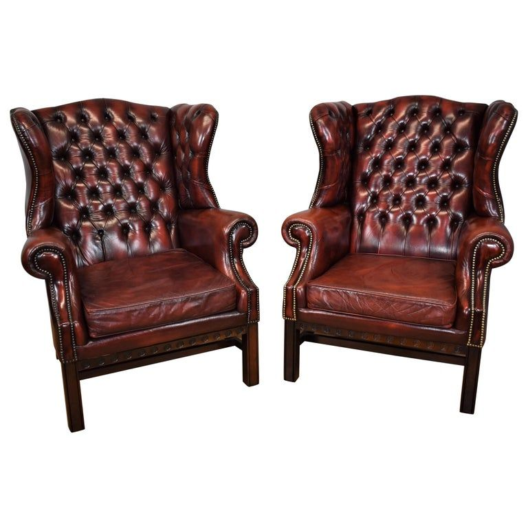 20th Century Pair of Large English Red Leather Wingback ...