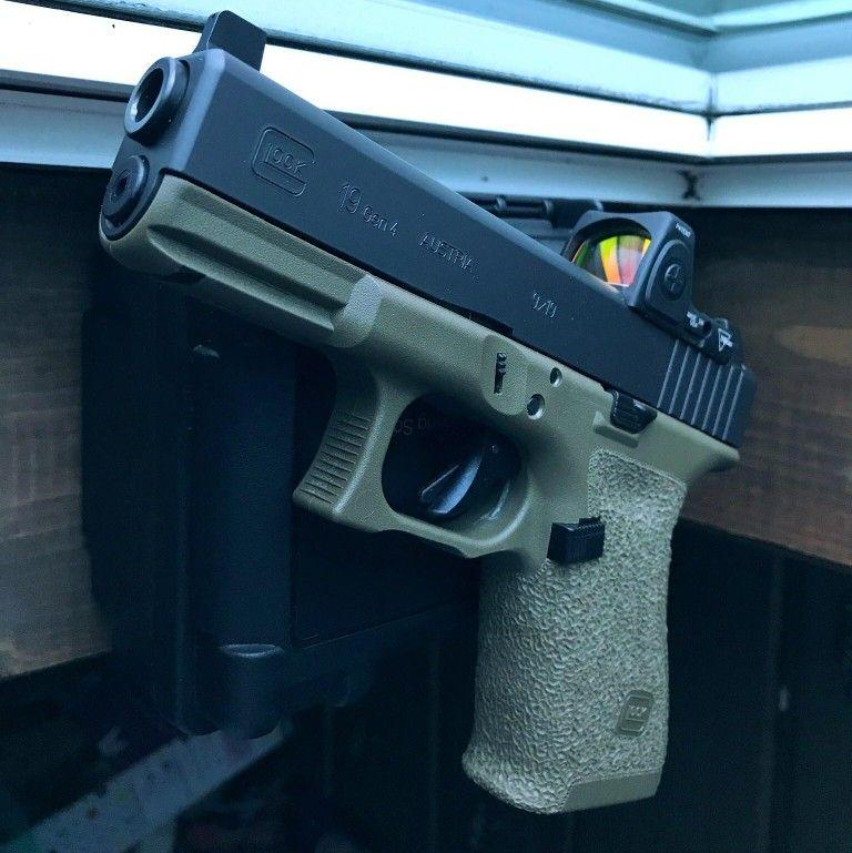 OD Glock 19 stippled with Trijicon RMR and suppressor sights. | My ...