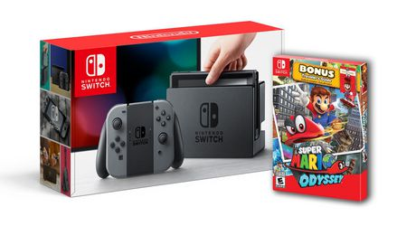 Nintendo Switch Grey Console With Super Mario Odyssey Bundle