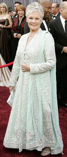 Dame Judi Dench is a fan of designer duo Abu Jani and Sandeep Khosla. I love the garment. It is definitely a fusion between the old and new, and British and Indian styles.