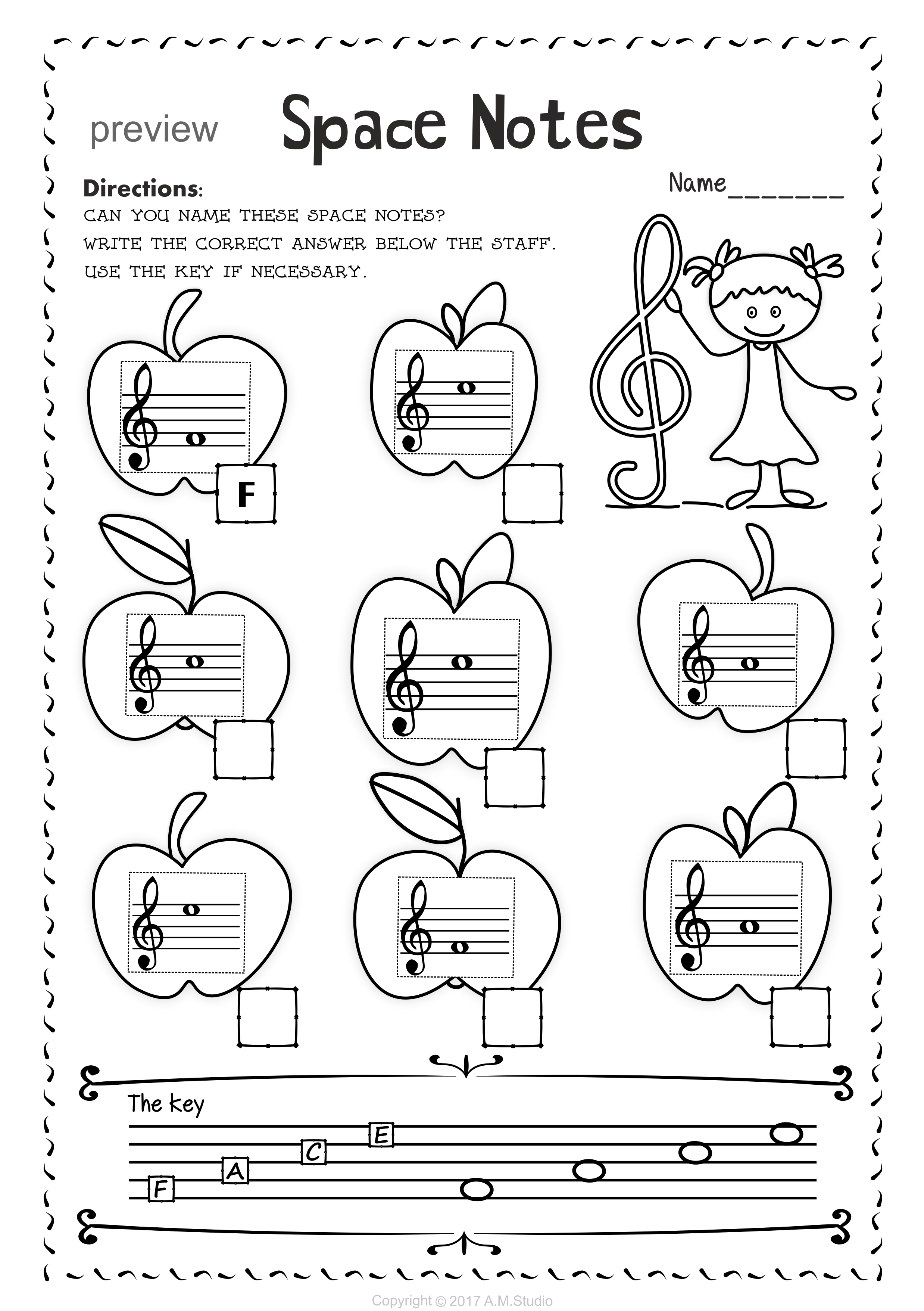 Back To School Treble Clef Note Naming Worksheets