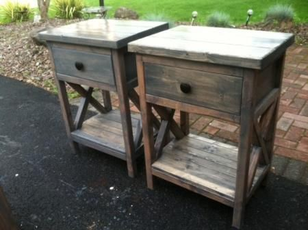 Reclaimed wood DIY nightstands X country pine free plans by rustic easy to build