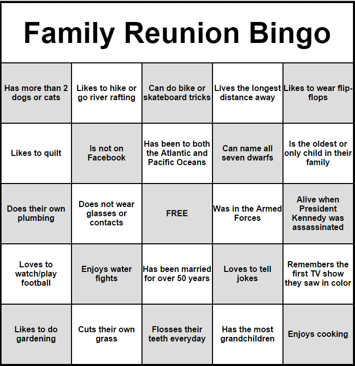 Family Reunion Ideas >> People Bingo Rules Cards Icebreaker Ideas Family