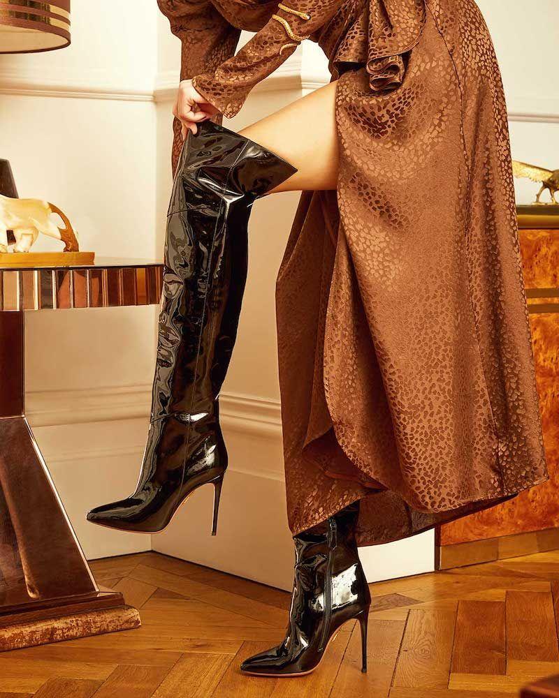 ebd489da9f0 Aquazzura Alma 105 Patent-Leather Over-the-Knee Boots