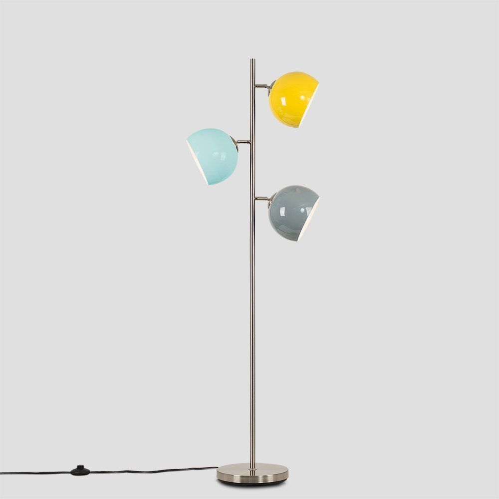 Contemporary Style 3 Way Brushed Chrome Floor Lamp With Mini Arco Style Yellow Pale Blue Grey Dome Shades Amazon Co Uk Chrome Floor Lamps Lamp Floor Lamp