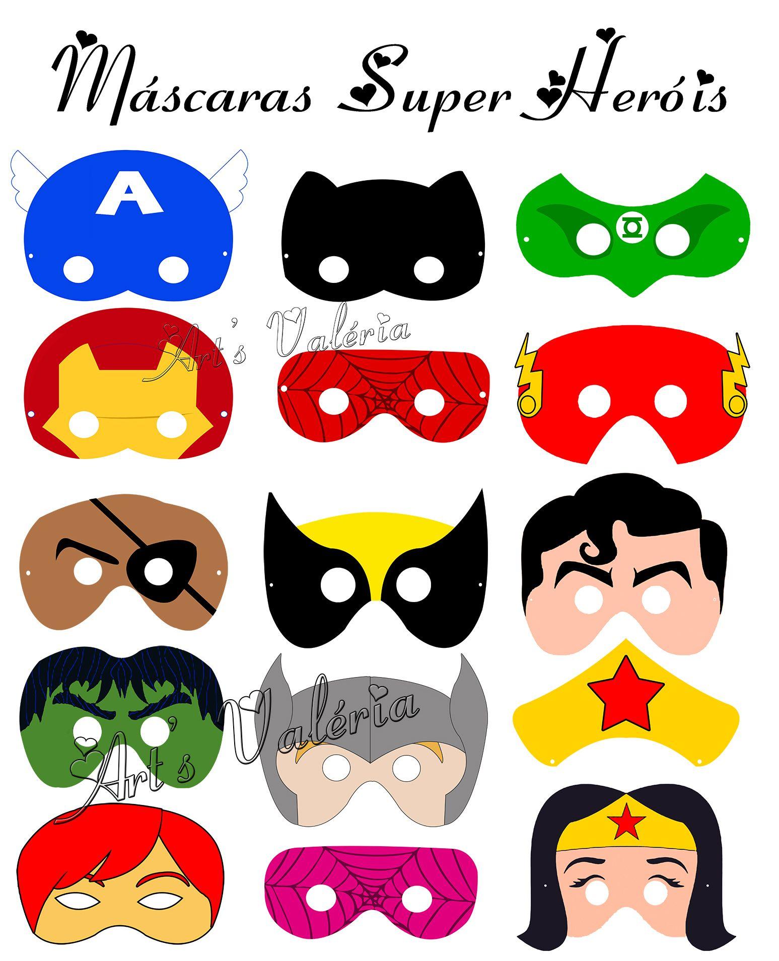 mascaras super herois para imprimir - Pesquisa Google | Niver Kauã ...