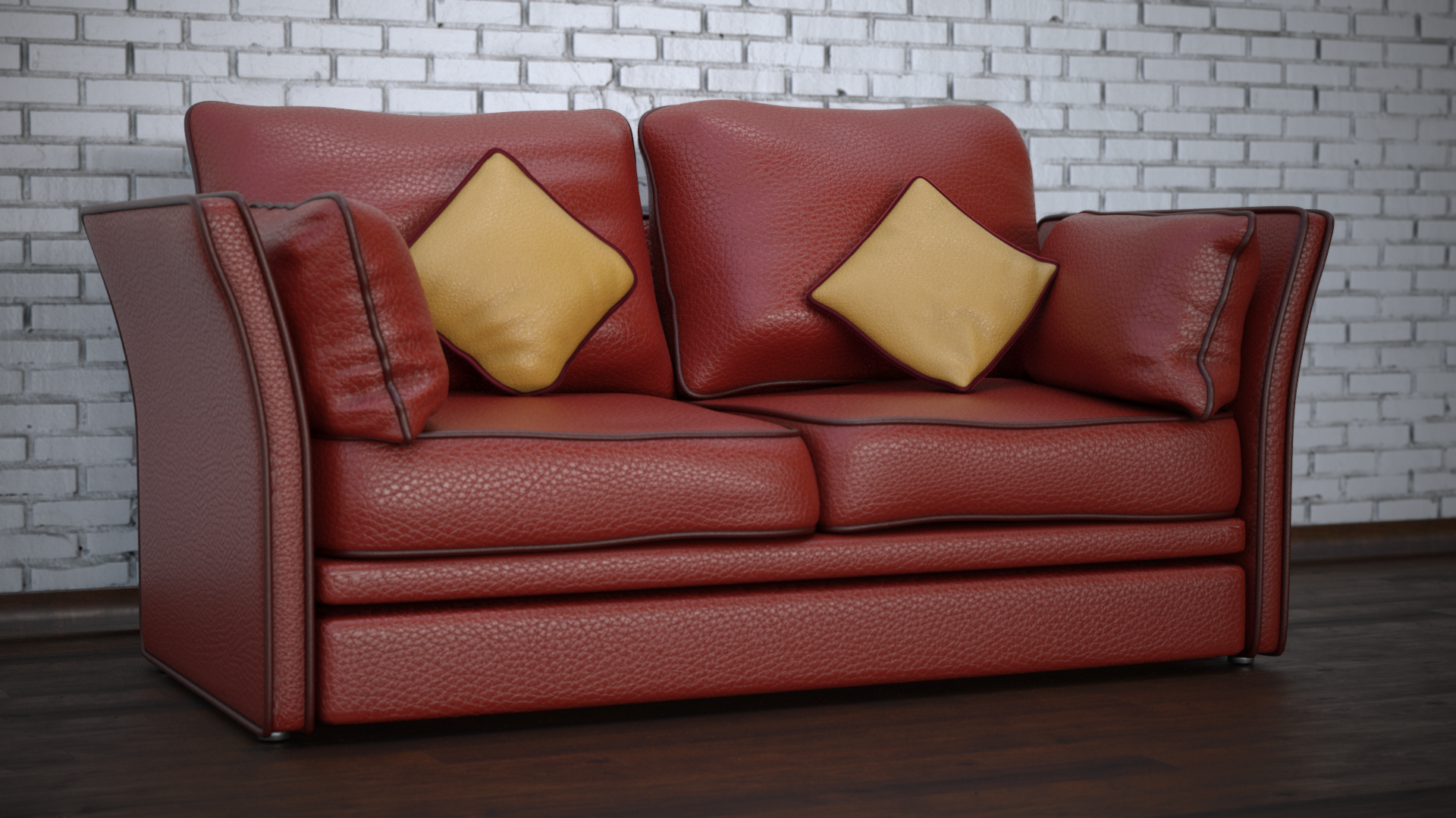 Sofa Suede Leather 3d Model Red Leather Sofa Leather Sofa