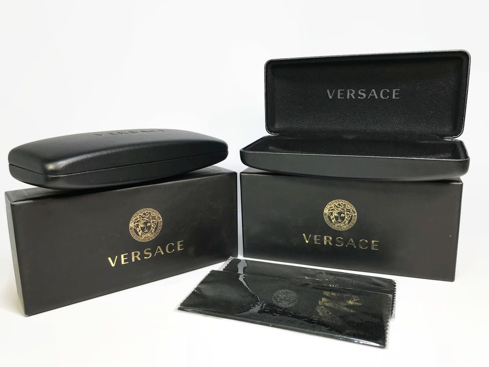 New Versace Sunglasses Black Gold Hard Clam Shell Case with box