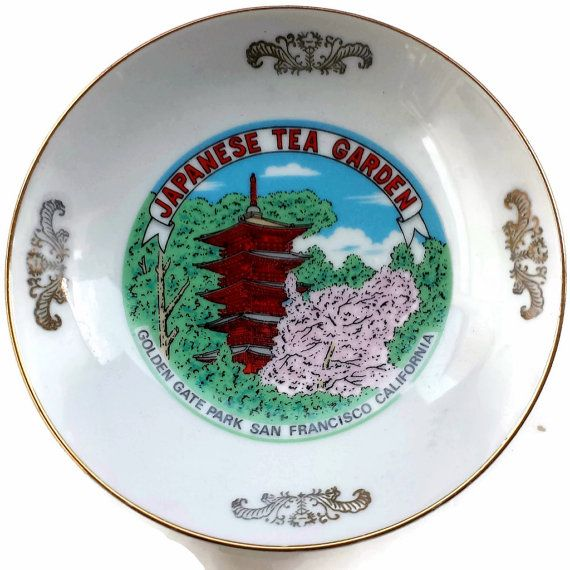 Japanese Tea Garden Bowl, trinket dish. This porcelain dish came from the Tea garden in San Francisco California at the Golden Gate Park. The