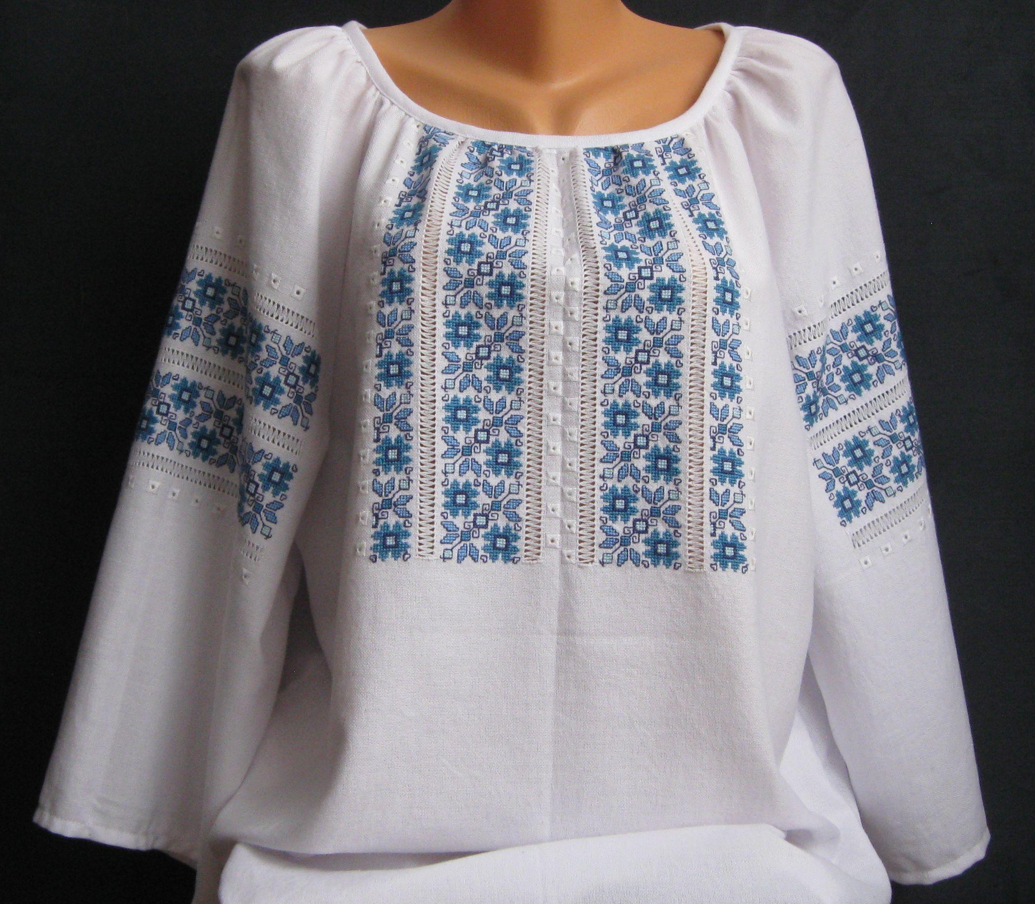 женская вышиванка с голубым узором - Товары - Вышиванки ручной работы от…