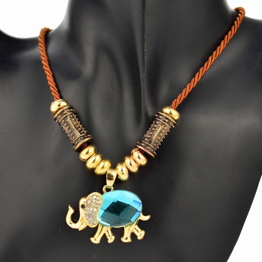 Gold Plated GP Elephant Gem Beads Diamante Rope Charm Cowgirl Pendant Necklace