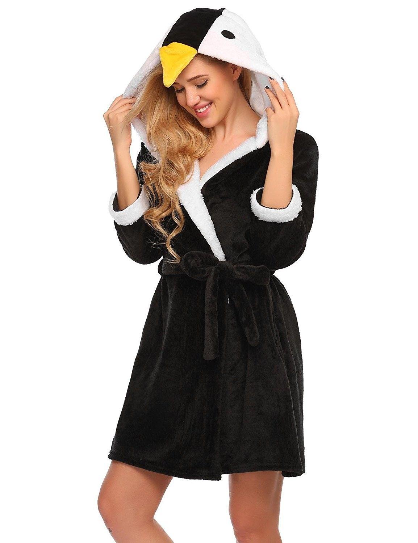 Silver Lilly Womens Animal Hooded Robe Plush Short Lamb Bathrobe