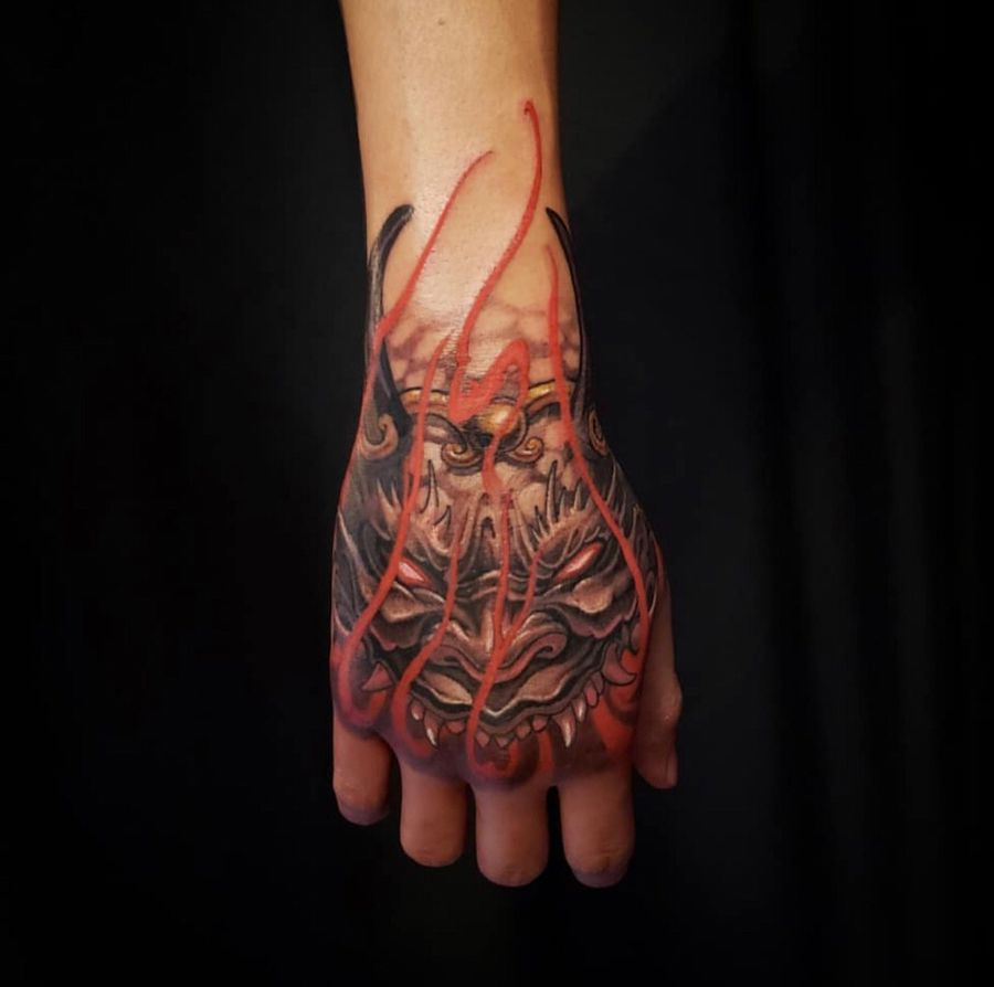 Oni Hand Piece By Patrick Done At Chronic Ink Tattoo Toronto Canada Hand Tattoos For Guys Ink Tattoo Oni Tattoo