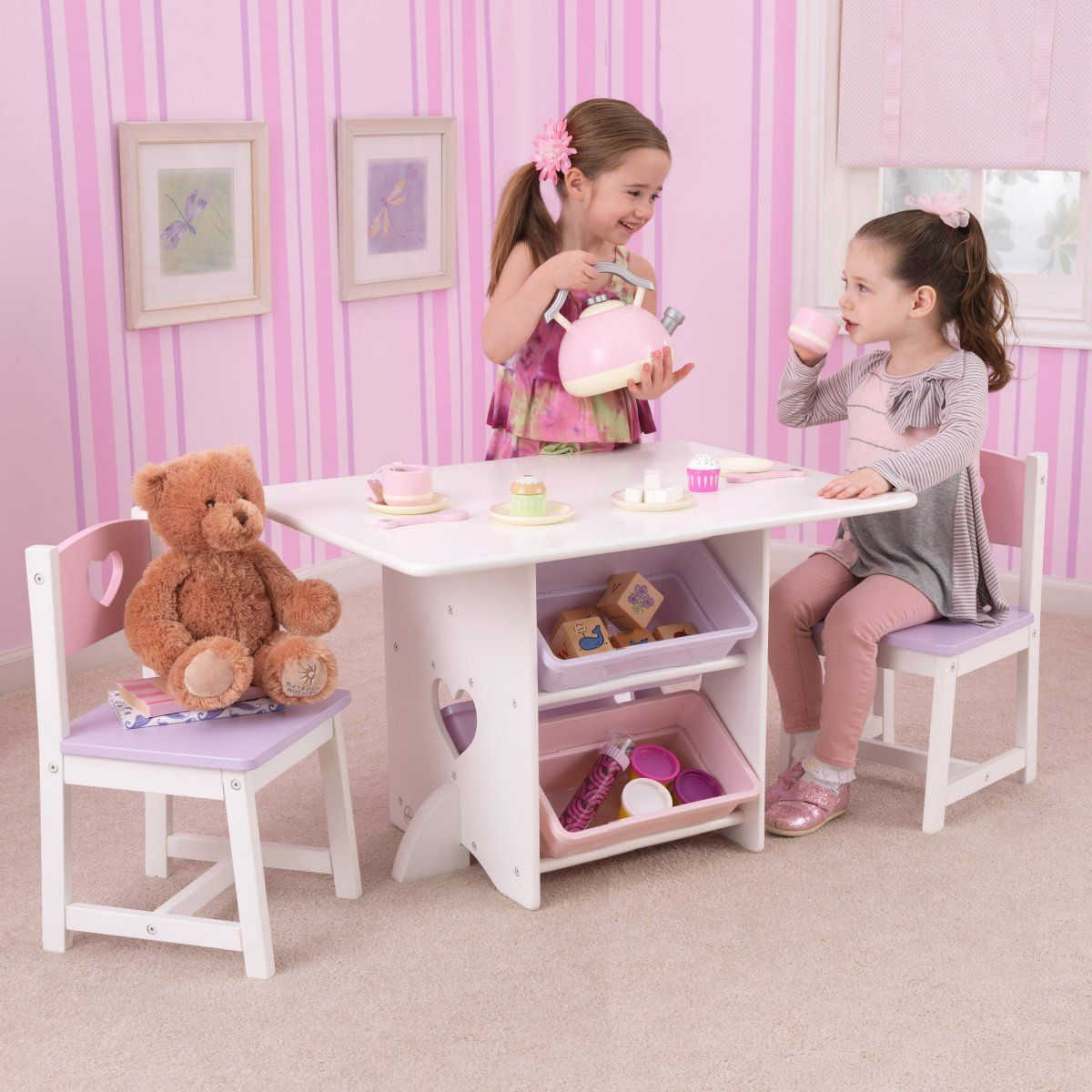 Kidkraft Heart Table And Chair Set Kidkraft Heart Table Set With Pastel Bins This One Is Really