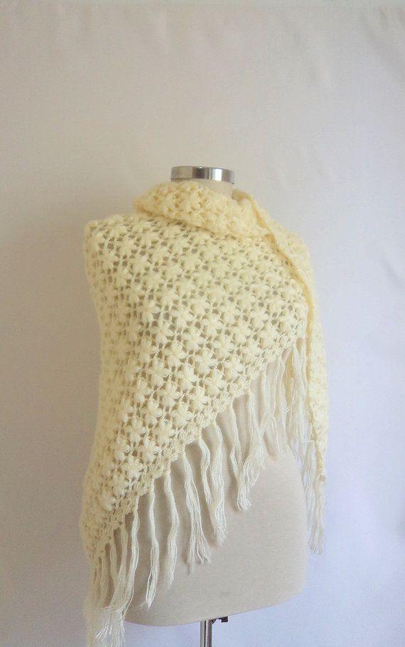Handmade Crochet Ivory Shawl | Chal, Ponchos y Capilla