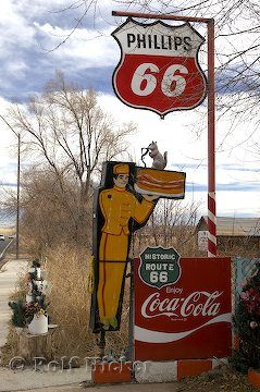 Old road sign from the 1950's along Route 66 in Seligman, AZ