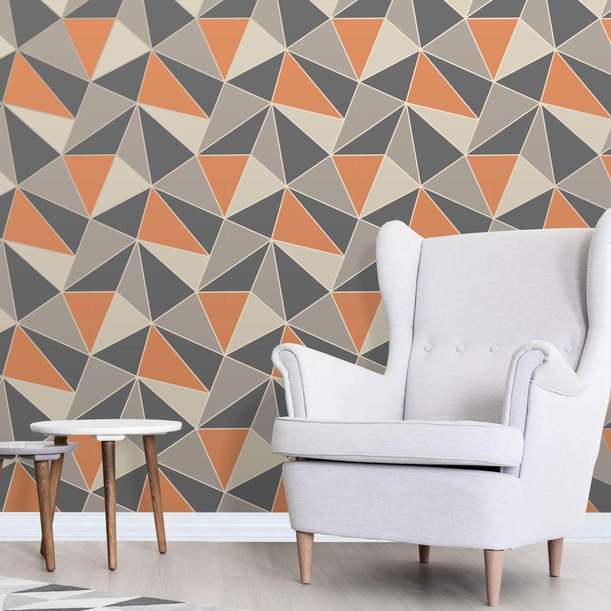 Apex Geometric Wallpaper Burnt Orange and Grey Fine Decor