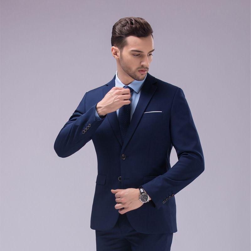 Dark Blue And Black Suit Tailor Made Bespoke Men Wedding Slim