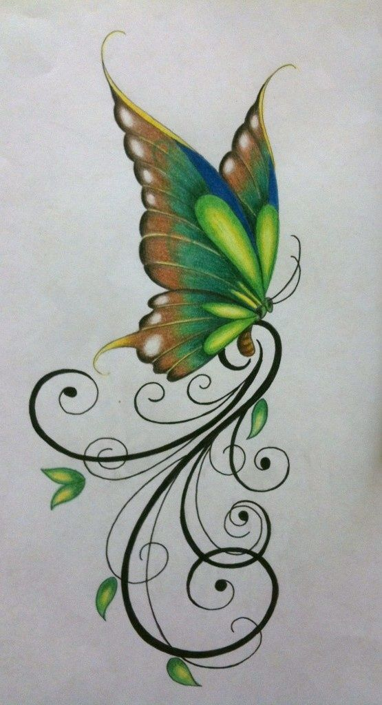 Green Butterfly Design With Cool Swirls Awesome Painting Idea