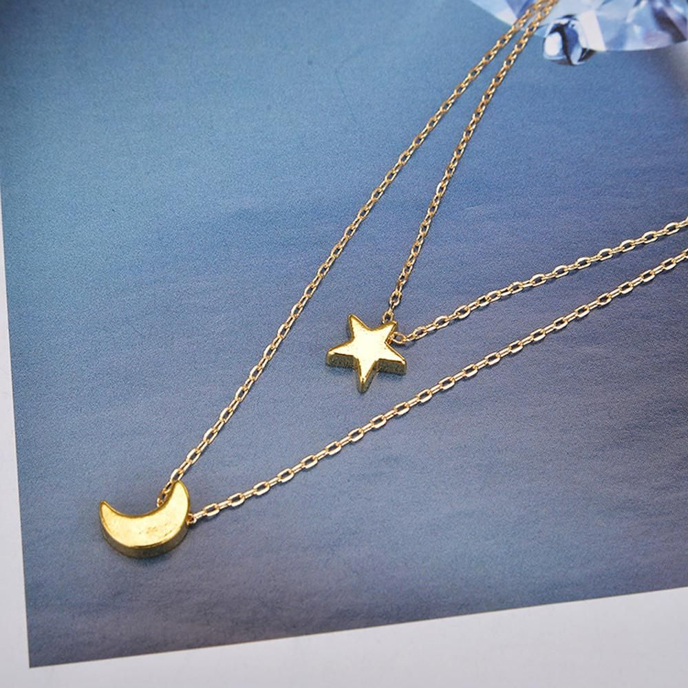 Women's Fashion Doublelayer chains with Star and Moon Simple Choker Necklace