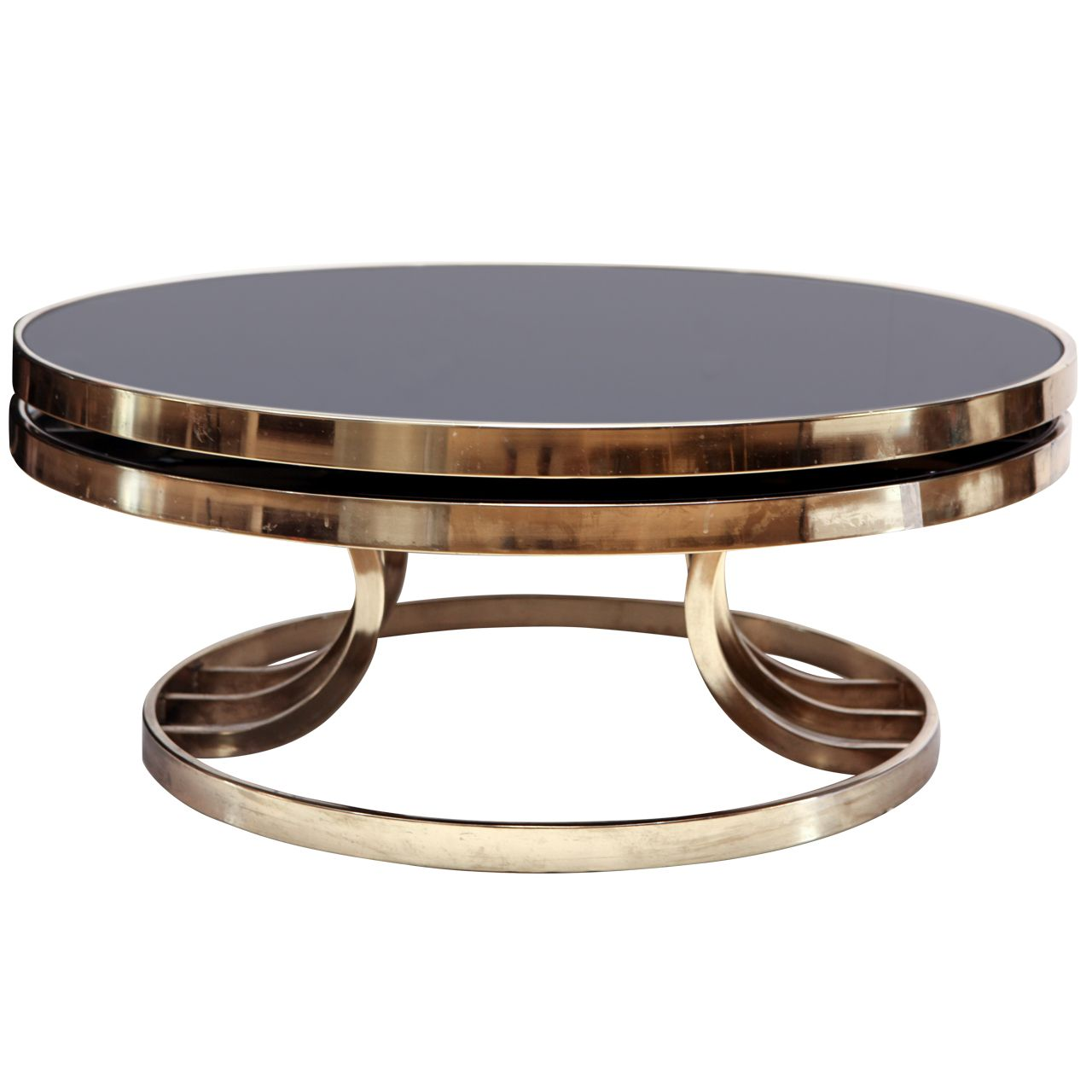 Colorful Modern Coffee Table: Italian Brass And Glass Swivel Coffee Table