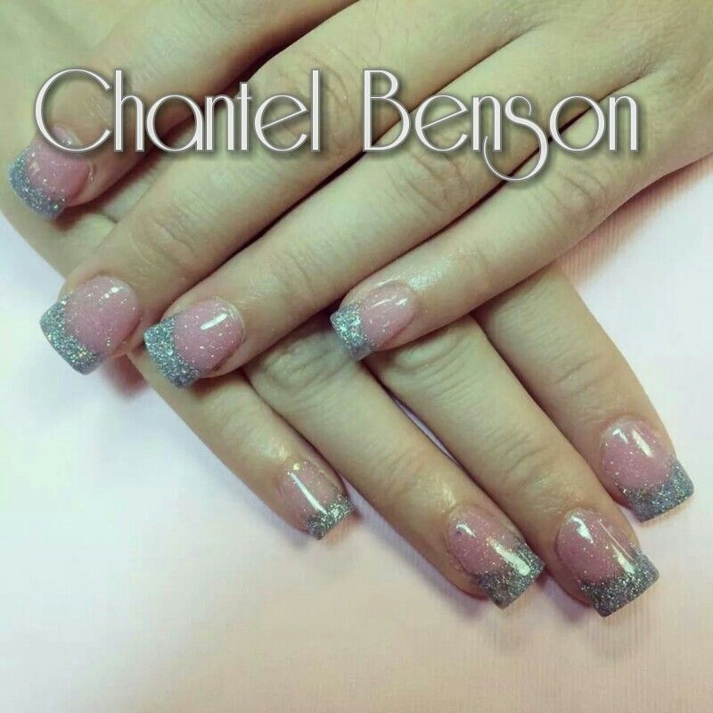 Classic acrylic nails with silver tips and glitter in the pink ...