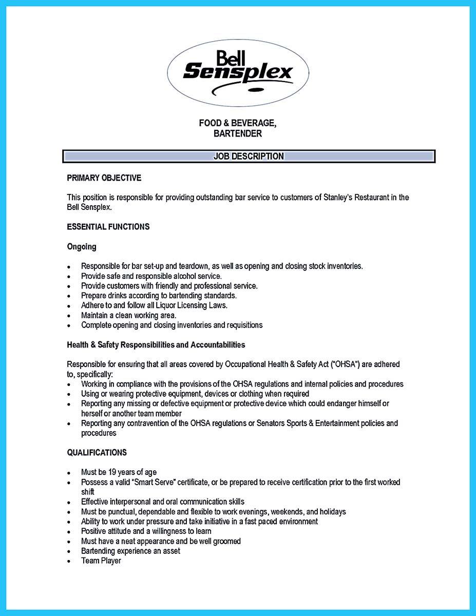 Bartender Resumes Project Management Resume Examples