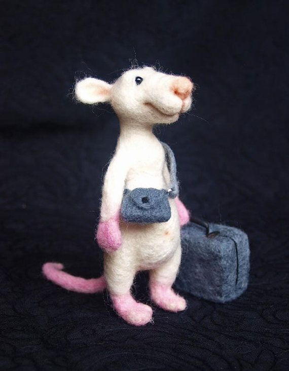White Rat Tourist, Traveller, Needle Felted Rat, Wool Soft Sculpture