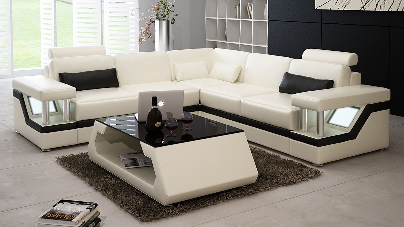 Kyoto Mid Size Sectional Off White Modern Couch Sectional Modern Leather Sofa