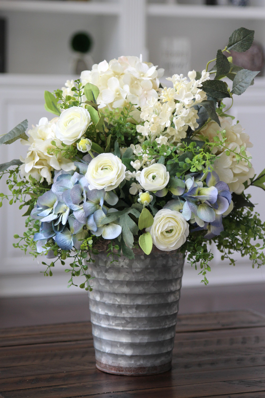 Farmhouse rustic decor silk floral arrangement table