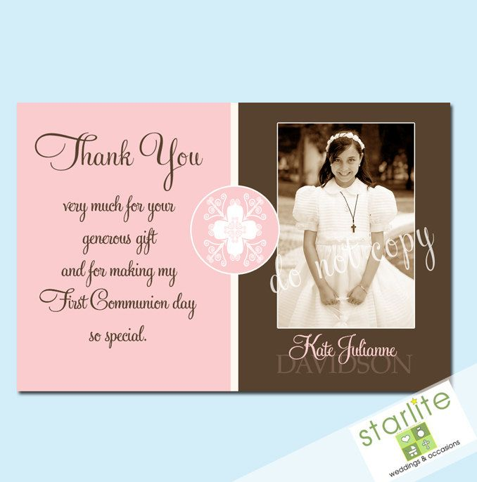 photo about First Communion Cards Printable called Initially Communion Thank Oneself Playing cards - Woman - Lucky Opinion