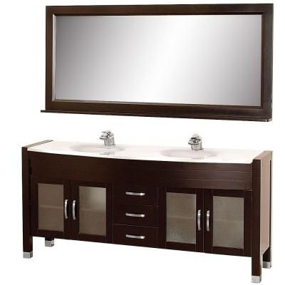 Wyndham Collection Daytona 71 in. Vanity in Espresso with Double Basin Man-Made Stone Vanity Top in White and Mirror-WCV220071ESWH - The Home Depot