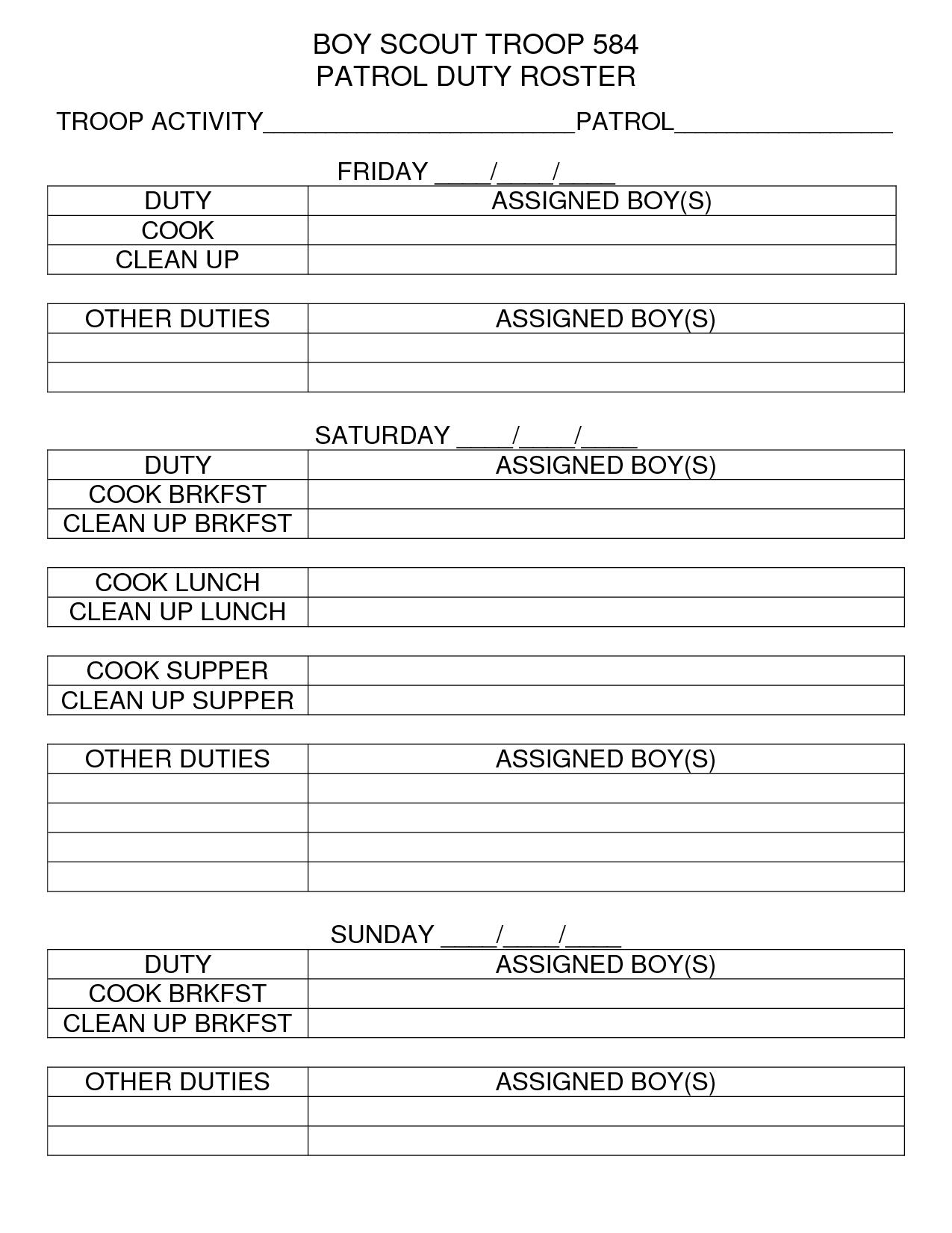 Den Camping Assignment Duty Chart