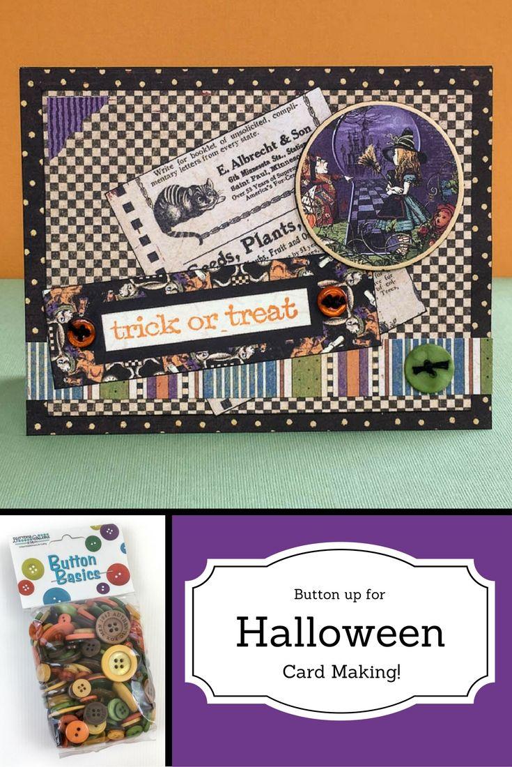 make a halloween card with fall festival button basics! | halloween