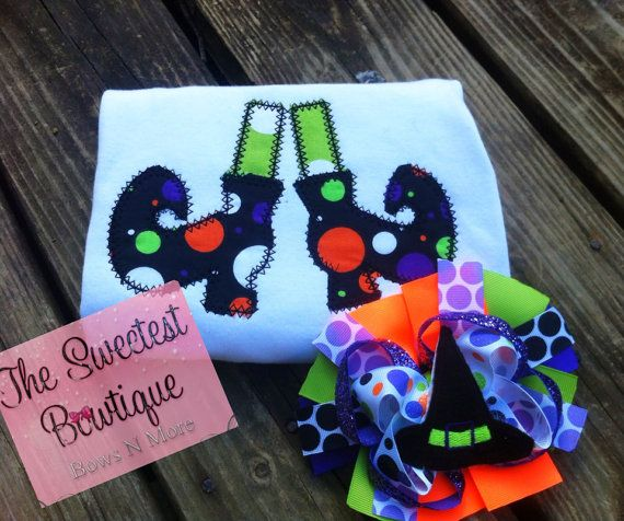 Girls witch's feet appliqué boutique set, Halloween shirt, embroidery design, Halloween shirt, couture, on Etsy, $25.00