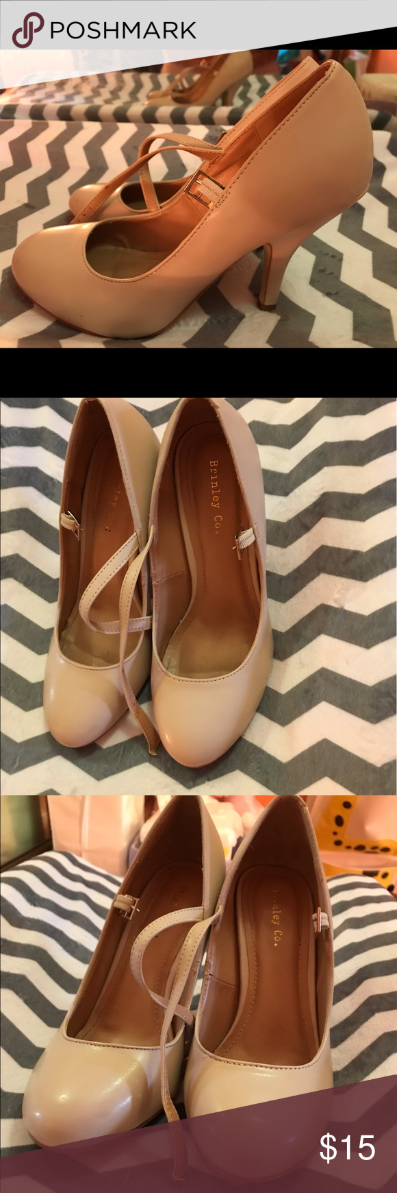 Nude Mary Jane pumps Nude matte Mary Jane pumps, very cute and comfortable minor wear as pictured but great looking shoes brinely Shoes Heels