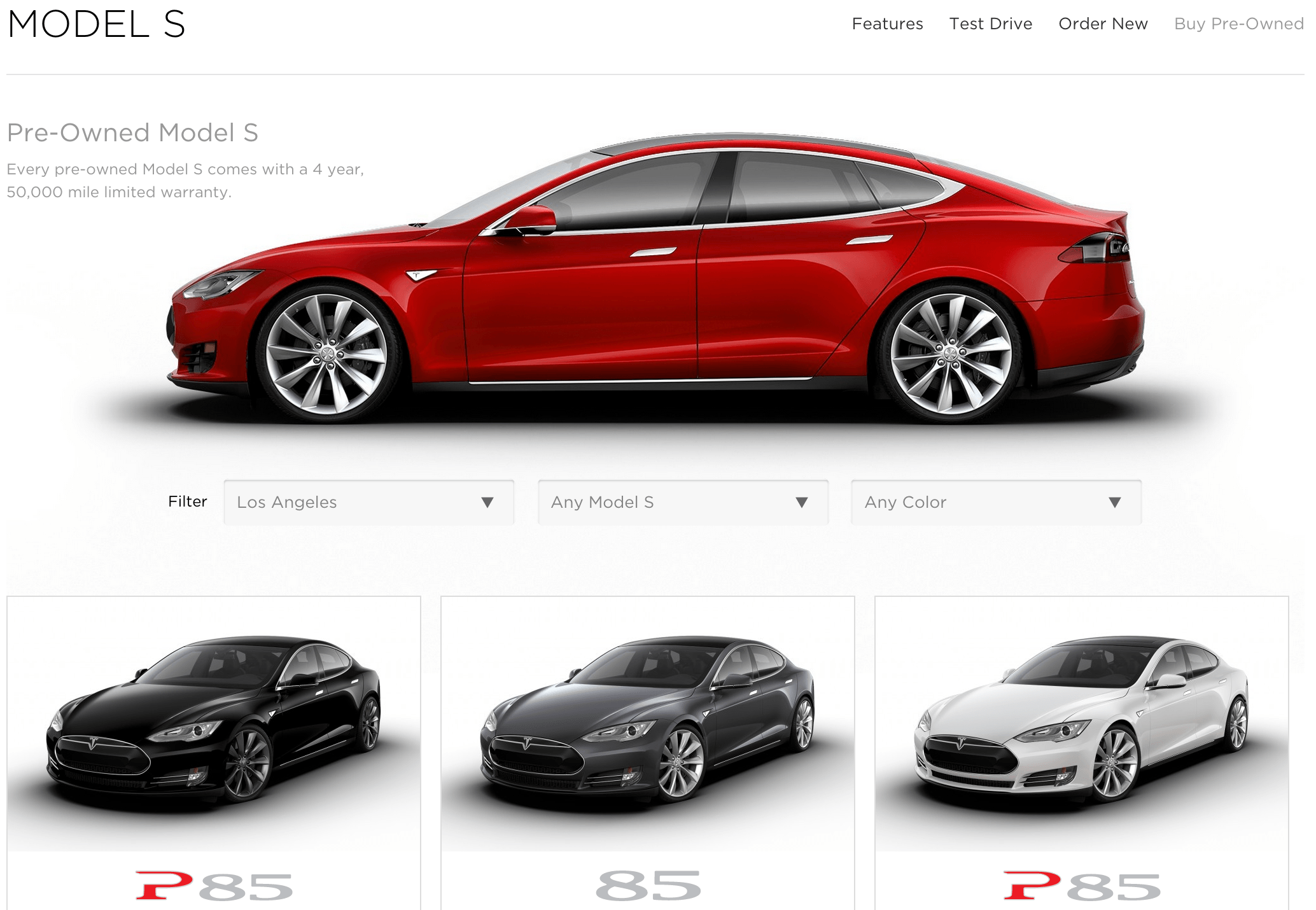 Tesla now selling Model S used now