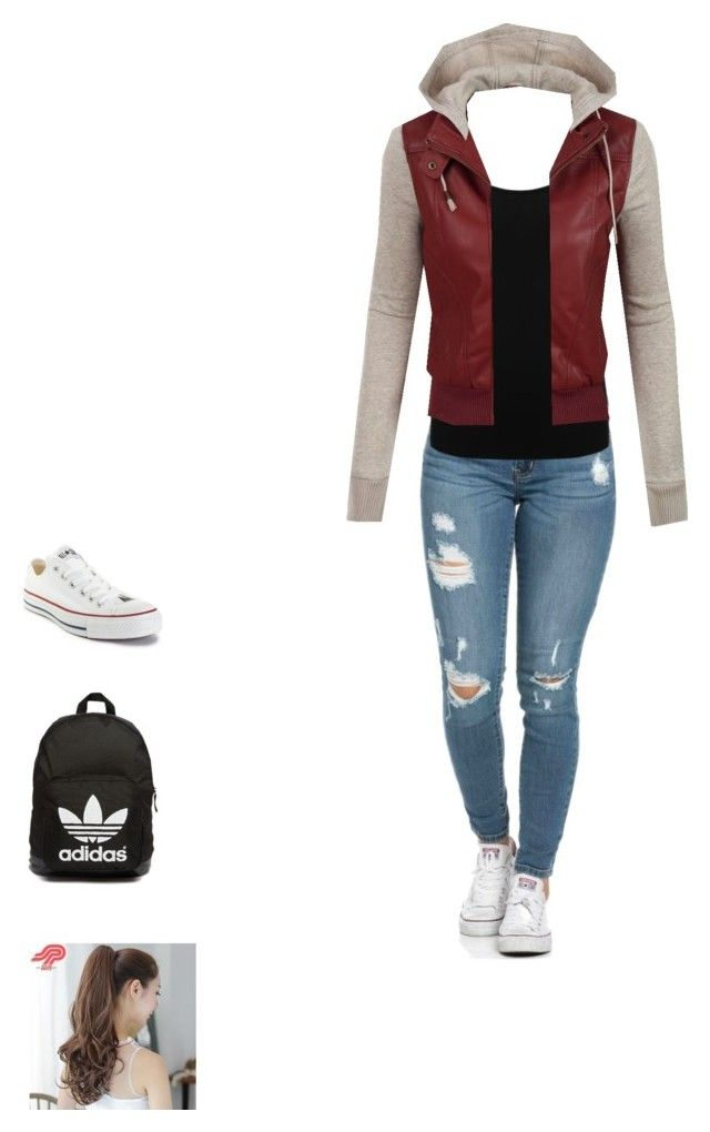 """Untitled #69"" by racheloveeee on Polyvore featuring M&Co, LE3NO, Converse, adidas Originals, Pin Show, women's clothing, women, female, woman and misses"