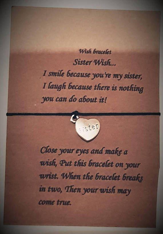 Sister Wish Bracelet Charm Sisters Bracelets Poem Card String Gift For Her Birthday Christmas Love