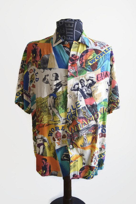 41e603a7 Vintage Jams World Men's Shirt Colorful World Gym Good Old Days Surf Line  Hawaii…