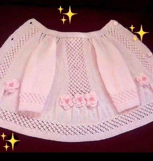 Photo of 34 Baby Mädchen Kleid Booties Weste Strickjacke Strickmodell