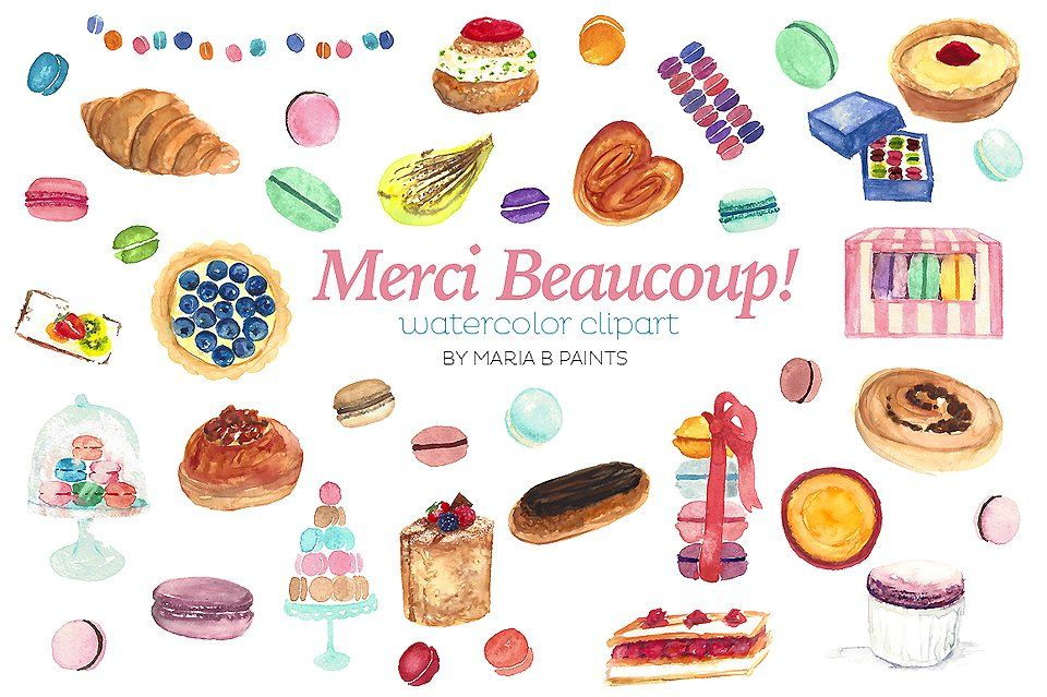 Watercolor Clip Art - Pastries by Maria B. Paints on @creativemarket