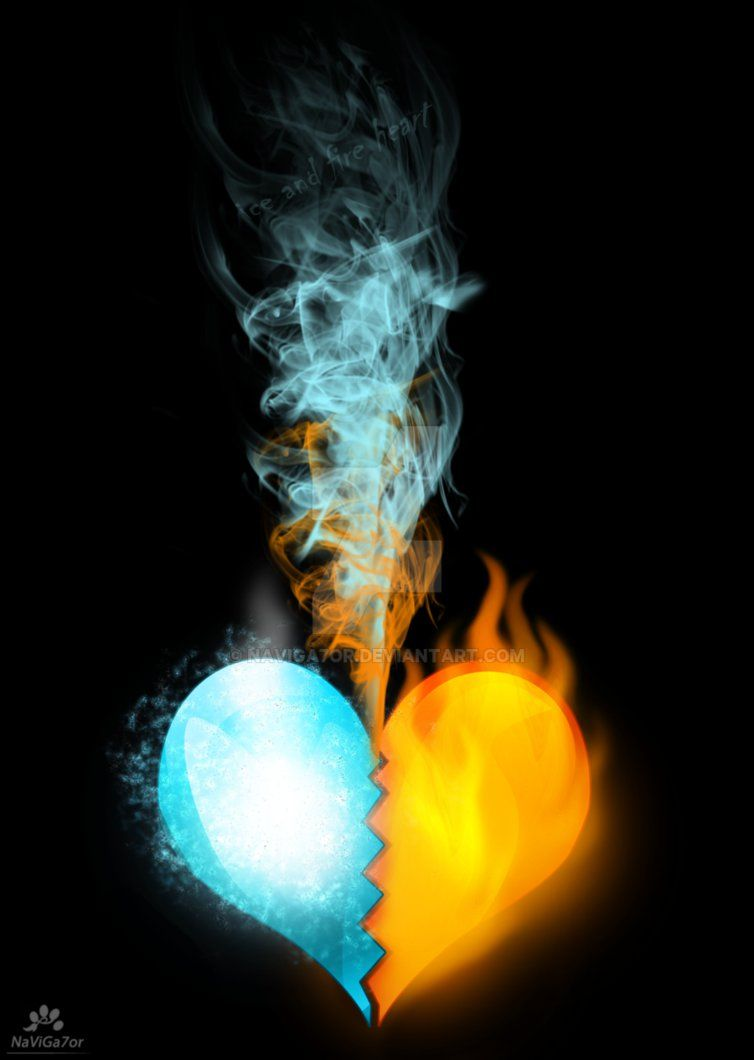 Ice And Fire Heart By Naviga7or On Deviantart Fire Heart Flame