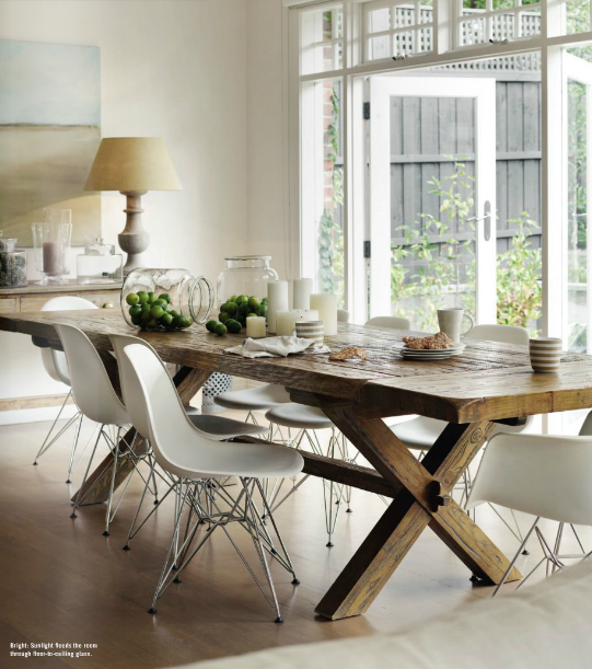 Toby Scott Dining Room Mix Rustic Table With Fiberglass Chairs