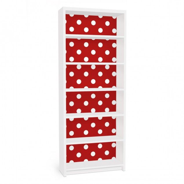 Furniture Decal For Ikea Billy Bookshelf No Ds92 Dot Design Girly Red Klebefolie Billy Regal Ikea