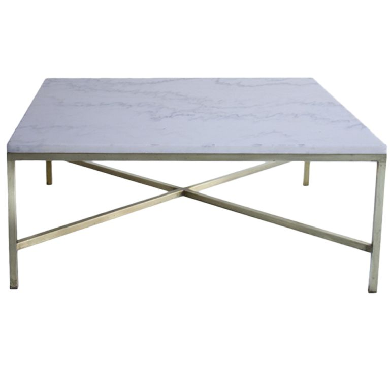 Paul McCobb Brass And Marble Coffee Table For Calvin Co