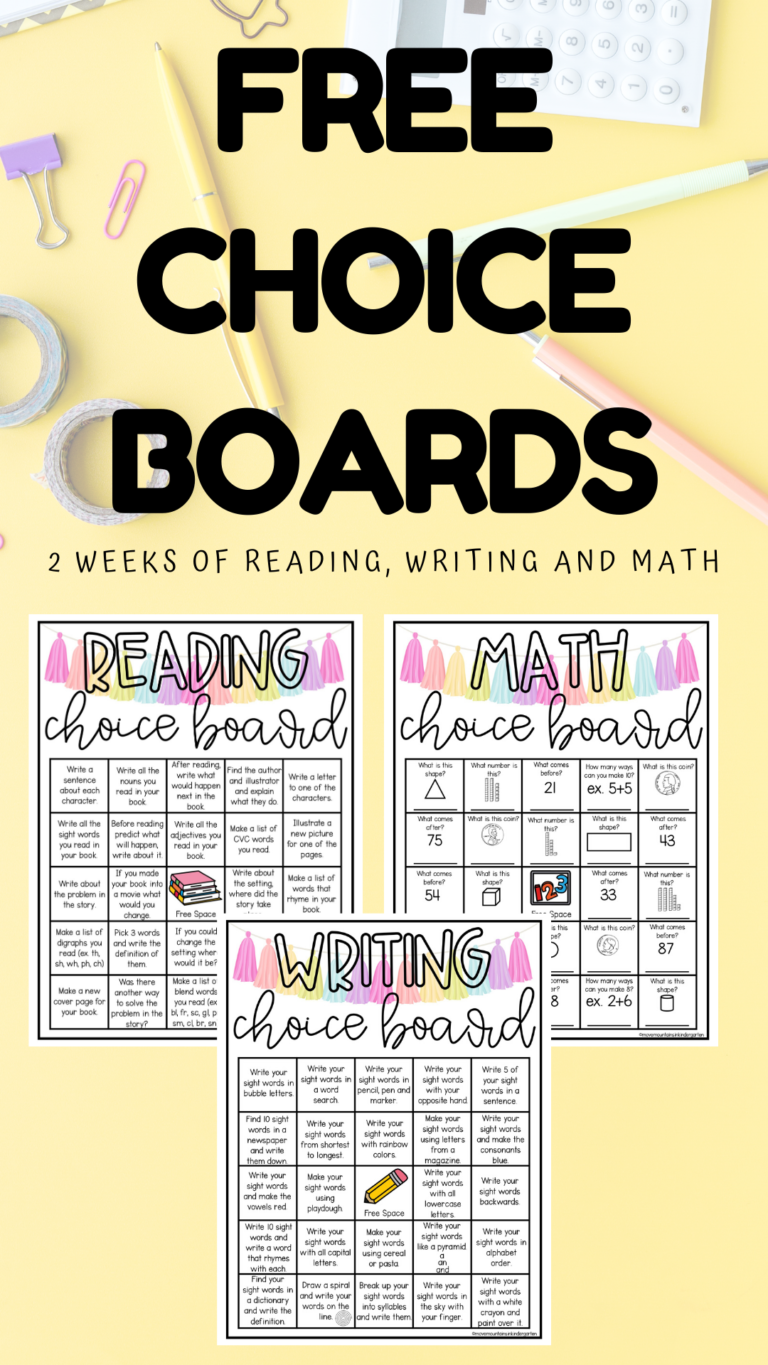 Choice Boards to use at Home - Move Mountains in Kindergarten