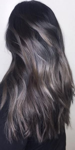 silver and dark brunette hair color | Hair Inspiration ...