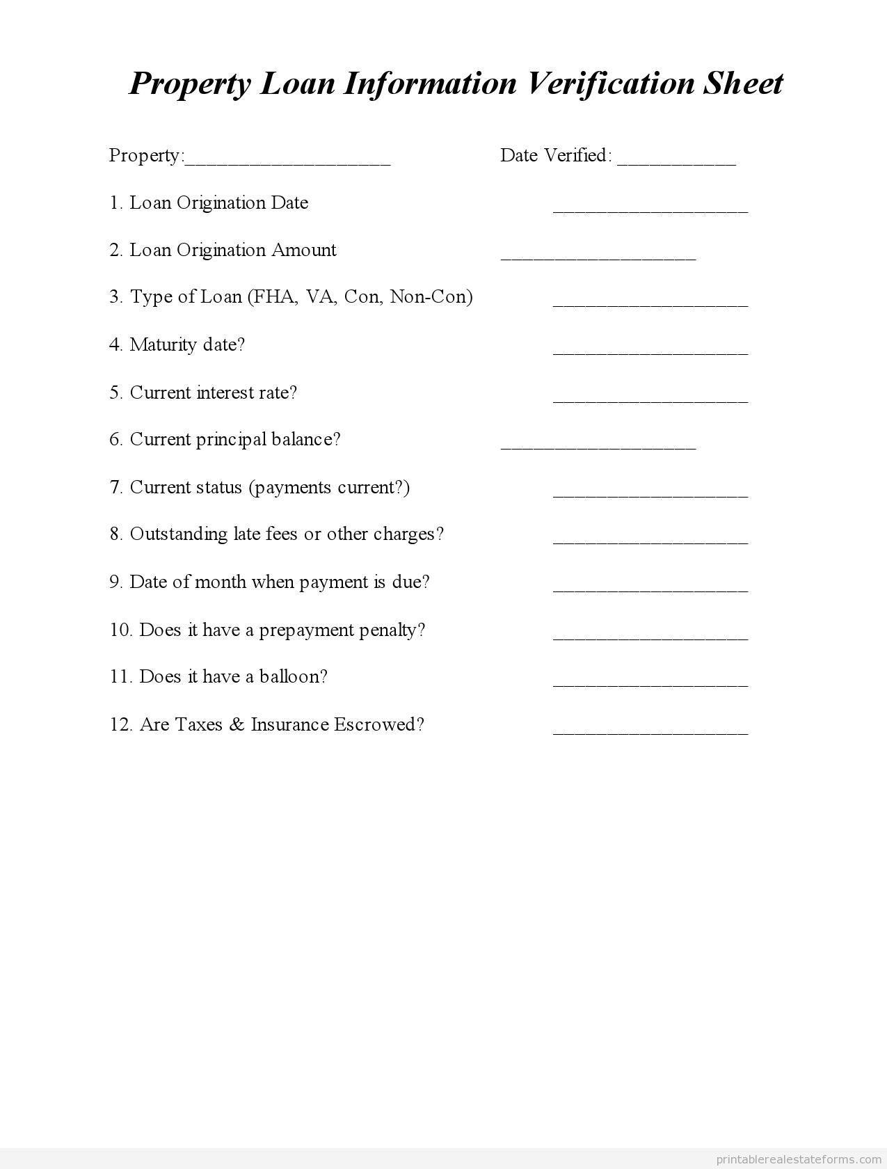 Printable property loan information verification sheet template – Sample Rate Sheet